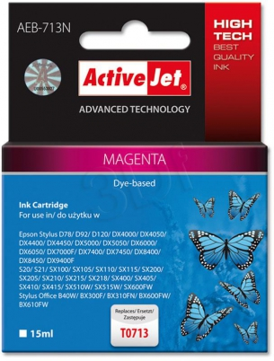 ActiveJet Ink cartridge Eps T0713 D78/DX6000/DX6050 Magenta - 15 ml     AEB-713