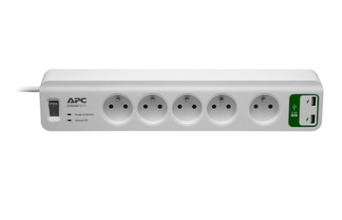 APC Essential SurgeArrest 5 outlets with 5V, 2.4A 2 port USB Charger 230V France
