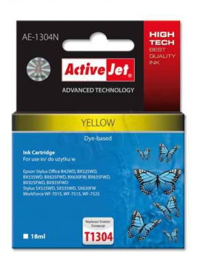 ActiveJet ink cartr. Eps T1304 Yellow 100% NEW - 18 ml     AE-1304N