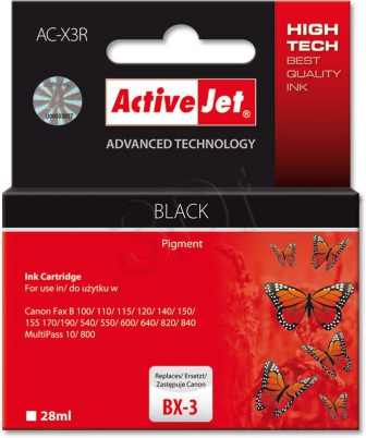 ActiveJet Ink cartridge Canon BX-3 Bk ref. - 28 ml     ACX-3
