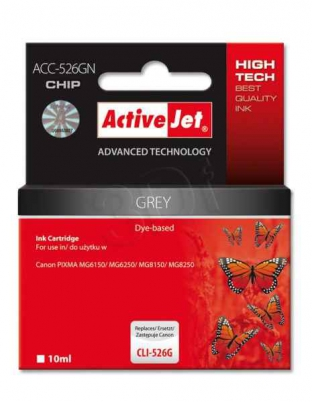 ActiveJet ink cartr. Canon CLI-526GY - 10 ml - 100% NEW (WITH CHIP)     ACC-526GN