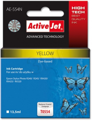 ActiveJet Ink cartridge Eps T0554 R240/R245 Yellow - 12,5 ml     AE-554