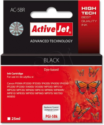 ActiveJet Ink cartridge Canon PGI-5 Bk ref. WITH CHIP - 25 ml     ACR-5Bk