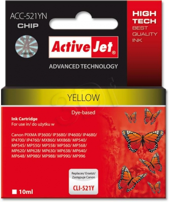 ActiveJet Ink cartridge Canon CLI-521Y  (WITH CHIP)     ACC-521Y