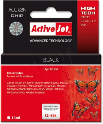 ActiveJet Ink cartridge Canon CLI-8 Bk WITH CHIP - 14 ml     ACC-8Bk