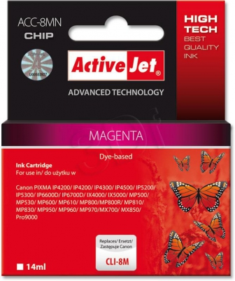 ActiveJet Ink cartridge Canon CLI-8 Magenta WITH CHIP - 14 ml     ACC-8M